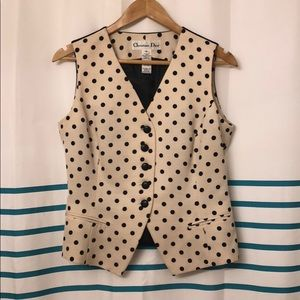 Dior Black/Cream Polka-Dot Button Up Vest, Size 10